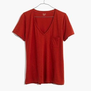 Madewell red vneck T-shirt